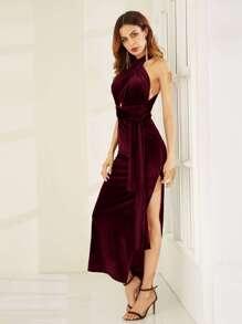Burgundy High Slit Velvet Convertible Dress