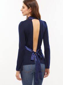 Navy Bow Tie Open Back Split Bell Sleeve T-shirt