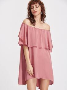 Pink Ruffle Boat Neck Swing Dress