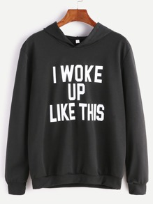 Black Hooded Slogan Print Sweatshirt