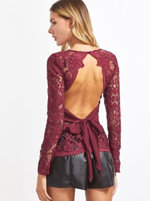 Burgundy Bow Tie Open Back Hollow Out Embroidered Lace Top