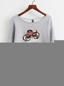 Grey Drop Shoulder Cat Print Sweatershirt