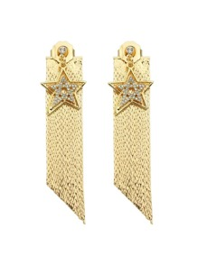 Gold Color Star Shape Long Chain Earrings