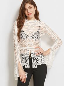 White Split Front And Sleeve Hollow Out Crochet Top