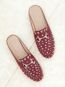 Red Gold Stud Embellished Slip-on Loafers
