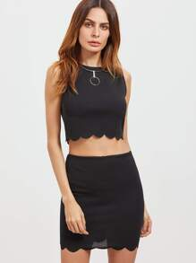 Black Scallop Edge Sleeveless Crop Top With Skirt