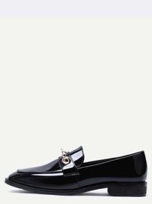 Black Metallic Embellished Almond Toe Loafer Flats