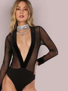Plunging Velvet V Mesh Bodysuit BLACK