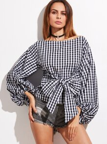 Black And White Gingham Bow Front Oversized Lantern Sleeve Top