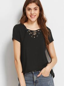 Black Lace Up V Neck T-shirt