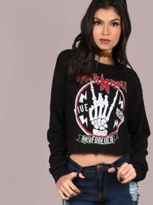 Backless Rock n Roll Cropped Pullover BLACK