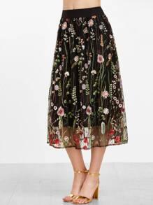 Black Floral Embroidered Mesh Overlay Midi Skirt