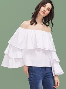 White Off The Shoulder Bell Sleeve Layered Ruffle Top
