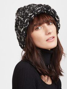 Black and White Chunky Knit Beanie Hat