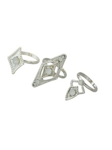 New Design Silver Color Band Rings (6 Pcs One Set )
