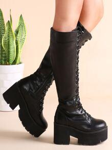 Black Faux Leather Lace Up Platform Zipper Knee Boots