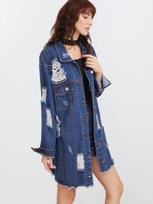 Blue Raw Hem Distressed Longline Denim Jacket
