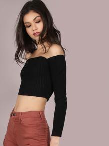 Rib Knit Sleeved Bardot Crop Top BLACK