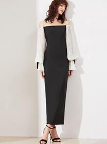 Black Contrast Bishop Sleeve Off The Shoulder Dress