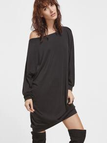 Black Asymmetric Shoulder Oversized Sweatshirt Dress