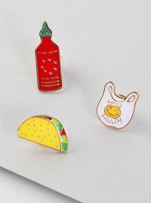 Fast Food Metallic Pin Set MULTI