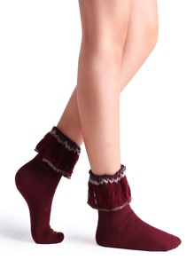 Burgundy Tassel Trim Ribbed Knit Crew Sock