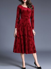 Red V Neck Velvet Jacquard Long Dress