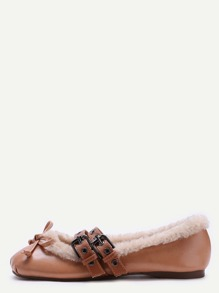 Brown Faux Leather Buckle Strap Knotted Fur Lined  Ballet Shoes