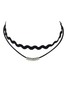 Silver Double Layers Choker Necklace
