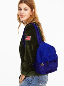 Blue Contrast External Pocket Velvet Backpack