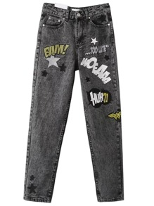 Grey Letter Printed Button Fly Jeans