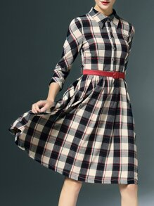 Black Lapel Belted Plaid A-Line Dress