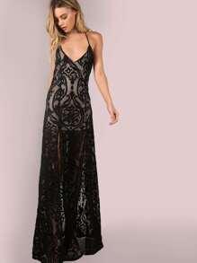 Backless Mesh Filgree Applique Maxi Dress BLACK