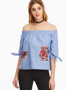 Blue Off The Shoulder Tie Sleeve Embroidered Rose Applique Top