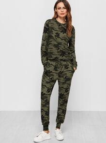 Olive Green Camo Print Sweatsuit