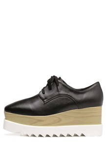 Black Square Toe Wedge Heel Oxfords