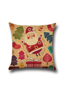 Christmas Cartoon Print Square Pillowcase