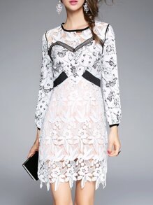 White Crochet Hollow Out Print Dress