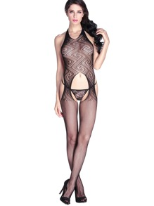Black Cutout Detail Halter Backless Body Stocking