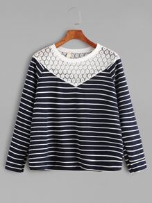 Contrast Embroidered Lace Striped Sweatshirt