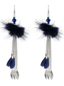 Blue Color Hanging Feather Long Chain Earrings