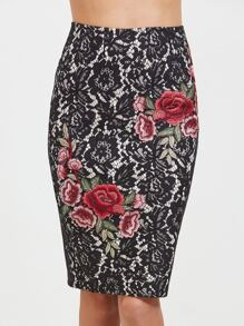 Black Embroidered Flower Applique Lace Pencil Skirt