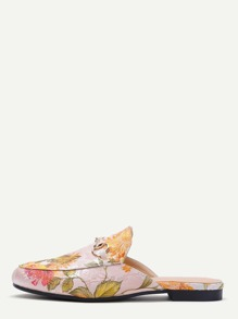 Apricot Floral Embroidered Satin Loafer Slippers