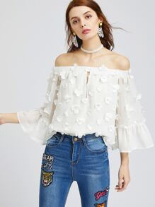 White Off The Shoulder Bell Sleeve Flower Applique Top