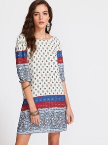 Multicolor Paisley Print V Back 1/2 Sleeve Tunic Dress