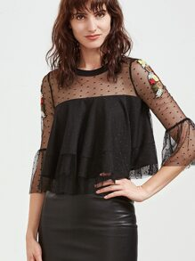Black Embroidered Sheer Shoulder Layered Dotted Mesh Top