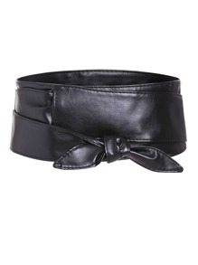 Black Knotted Front Wide Belt