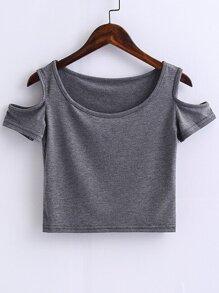 Grey Open Shoulder Crop Top