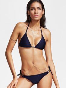 Navy Halter Side Tie Bikini Set