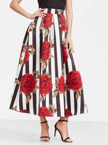 Black And White Striped Rose Print Long Skirt